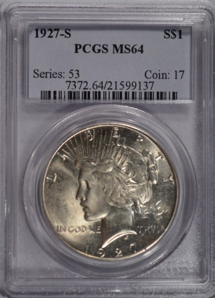 1927-S PEACE DOLLAR PCGS MS 64 GEMMY WHITE