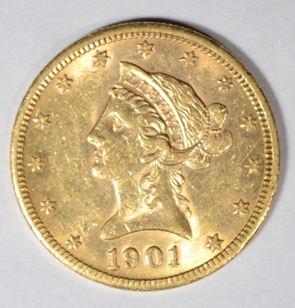 1901-S $10.00 GOLD LIBERTY AU 58 EST. $1000.00 TO $1200.00