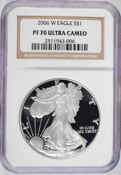 2006W silver Eagle NGC PF70 ULTRA CAMEO est $100-$125