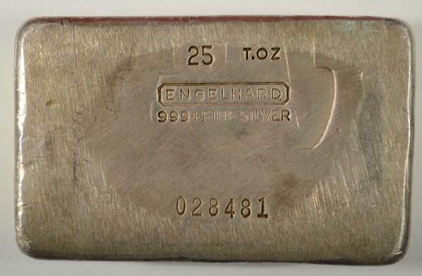 Engelhard 25 troy oz. 999+ silver bar RARE est $1000-$1050