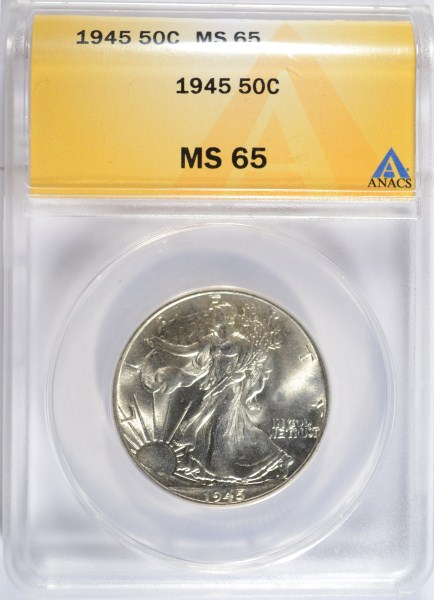 1945 WALKING LIBERTY HALF DOLLAR ANACS MS-65