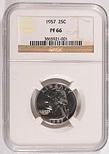 1957 WASHINGTON QUARTER, NGC PROOF-66  SUPER!
