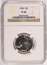 1958 WASHINGTON QUARTER, NGC PROOF-66  SUPER!