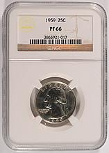 1959 WASHINGTON QUARTER, NGC PROOF-66  SUPER!