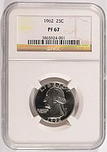 1962 WASHINGTON QUARTER, NGC PROOF-67  SUPER!