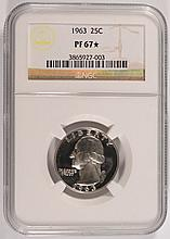 1963 WASHINGTON QUARTER, NGC PROOF-67 STAR!  SUPER!