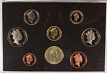 1986 EIGHT PIECE PROOF SET FROM ENGLAND, IN THE ORIGINAL CASE
