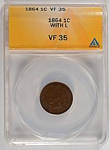 1864-L INDIAN HEAD CENT, ANACS VF-35,  KEY DATE!  IT'S REALLY XF-40!