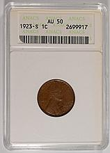 1923-S LINCOLN CENT, ANACS AU-50   NICE!