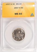 1937-S BUFFALO NICKEL, ANACS MS-65