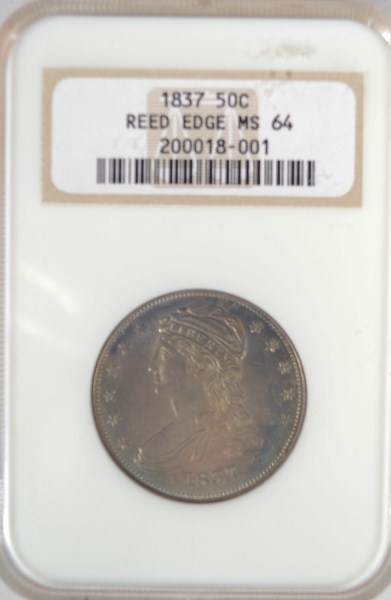1837 REEDED EDGE BUST HALF DOLLAR NGC MS64 BEAUTIFUL BLUES, GOLD, SUPER LUSTRE