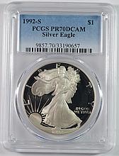 1992-S PROOF AMERICAN SILVER EAGLE, PCGS PR-70 DCAM  RARE