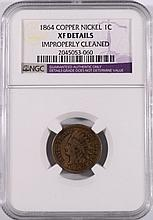 1864 COPPER-NICKEL INDIAN HEAD CENT,  NGC XF DETAILS