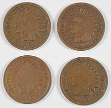 ( 4 ) 1909 INDIAN HEAD CENTS