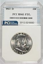 1957-D FRANKLIN HALF DOLLAR PCI SUPERB GEM BU FBL
