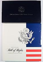 1991 PROOF USO COMMEM SILVER DOLLAR BOX/COA & BILL OF RIGHTS COIN AND STAMP SET