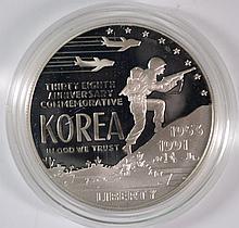 ( 2 ) 1991 KOREA PROOF COMMEM SILVER DOLLARS, BOXES/COA