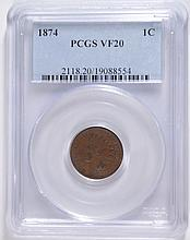 1874 INDIAN HEAD CENT PCGS VF-20