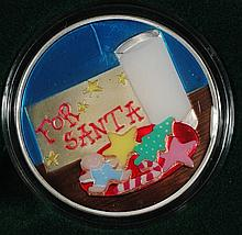 FOR SANTA ( COOKIES AND MILK )  ENAMEL PAINTED OUNCE .999 SILVER ROUND