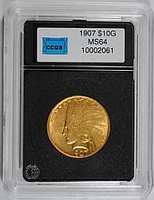 1907 $10.00 INDIAN GOLD GEM BU SCARCE