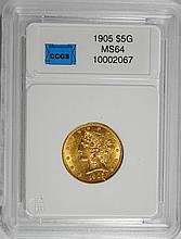 1905 $5.00 GOLD LIBERTY GEM BU SCARCE DATE