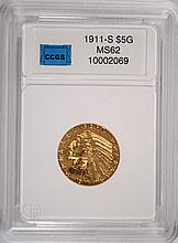 1911-S $5.00 GOLD INDIAN CHOICE BU RARE