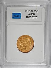1916-S $5.00 GOLD INDIAN AU/UNC RARE