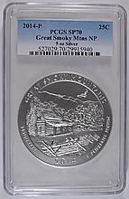 2014 (5 OZT .999 FS) GREAT SMOKY MTNS  PCGS SP 70