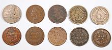 ( 10 ) INDIAN HEAD CENTS ( 1858 SL, 1859, 1864, 1863,1864, 1865, 1866, 1868,