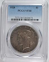 1928 PEACE DOLLAR PCGS VF 30