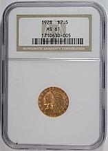1928 $2.50 GOLD INDIAN HEAD NGC MS61
