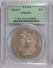 1884-O MORGAN DOLLAR PCGS MS63 PL OLD HOLDER