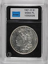 1921-D MORGAN DOLLAR CCGS GEM BU PL