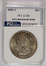 1896-O MORGAN SILVER DOLLAR, PCI  GRADED AU/UNC