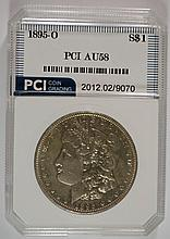 1895-O MORGAN SILVER DOLLAR, PCI  GRADED AU/UNC    RARE