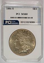1884-S MORGAN SILVER DOLLAR, PCI UNC.  NICE