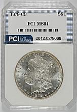 1878-CC MORGAN SILVER DOLLAR, PCI  GRADED GEM BU  NICE
