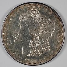 1884-S MORGAN SILVER DOLLAR, AU+