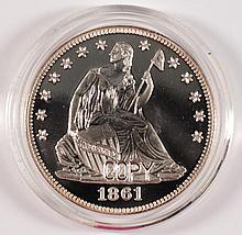 1861 CONFEDERATE SILVER PROOF DESIGN ON REVERSE, OBVERSE SEATED HALF DOLLAR COPY
