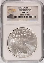 2012 AMERICAN SILVER EAGLE, NGC MS-70!  EAGLE LABEL