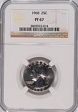 1960 WASHINGTON QUARTER, NGC PROOF-67! SUPER!