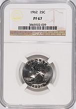 1962 WASHINGTON QUARTER, NGC PROOF-67! SUPER!