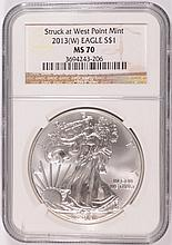 2013 ( W ) AMERICAN SILVER EAGLE, NGC MS-70  BROWN LABEL