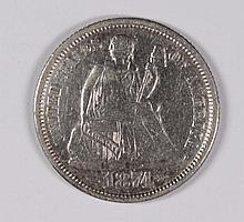 1874 SEATED DIME XF/AU