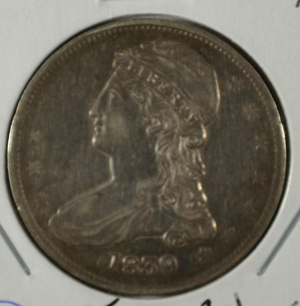 1839 R.E. BUST HALF DOLLAR XF