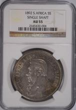 1892 SOUTH AFRICA 5S SINGLE SHAFT, NGC AU-55 VERY RARE COIN!