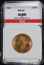 1881 $10 Liberty Head Gold Eagle BGC CH BU
