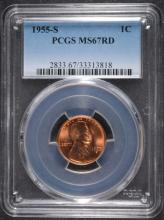 1955-S LINCOLN CENT, PCGS MS-67 RED!