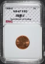 1938-D LINCOLN CENT, RNG SUPERB GEM BU RED