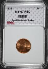 1938 LINCOLN CENT, RNG SUPERB GEM BU RED